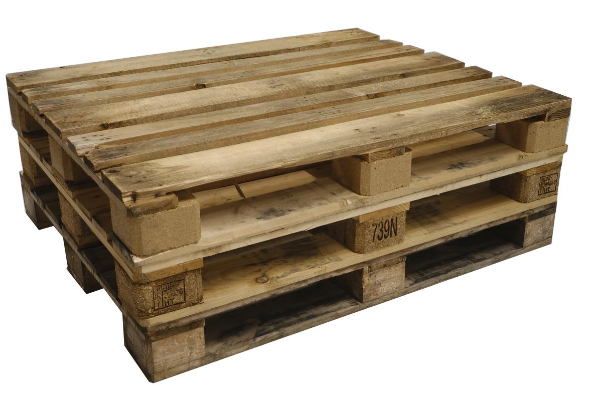 DIN Paletten (DIN 15146 – Teil 3: 1000 × 1200 mm (ähnlich EURO 3)), gebraucht, 7 Deckbretter,  Schwere Ausführung