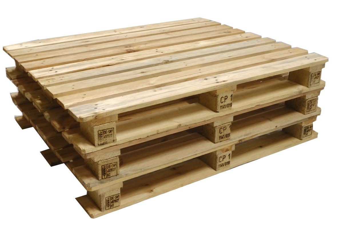 CP1 Paletten, neu, ISPM 15, 9 Deckbretter, Schwere Ausführung, 1200x1000mm