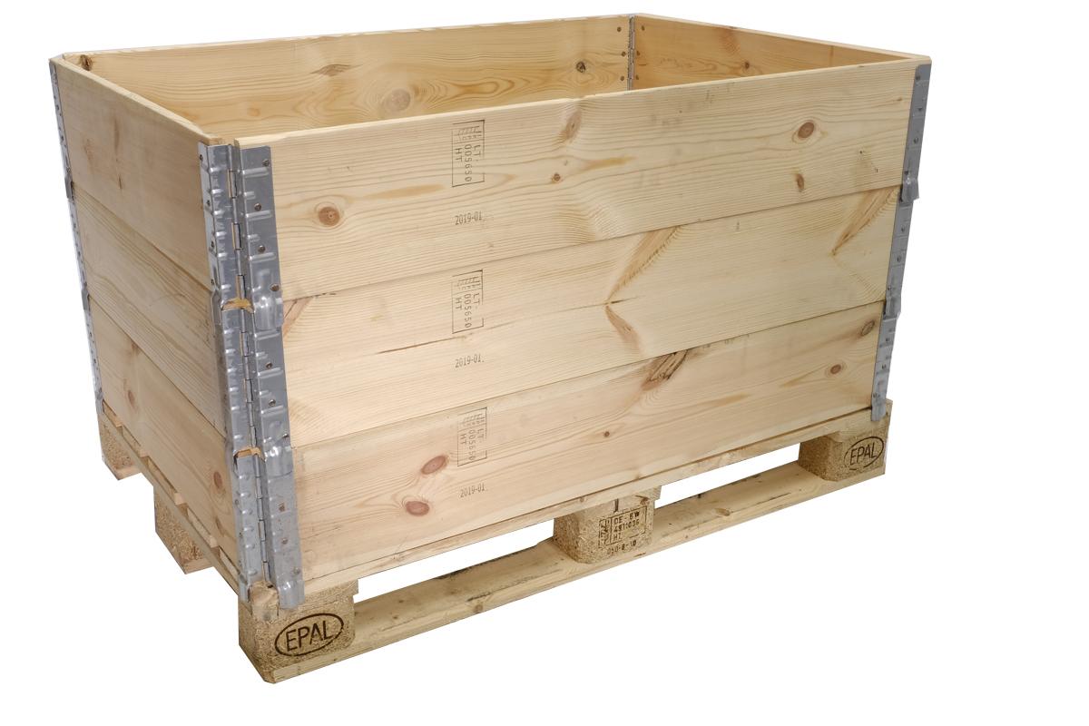 Holzaufsatzrahmen, neu, ISPM 15, 4 Scharniere, faltbar, 1200x800x200mm